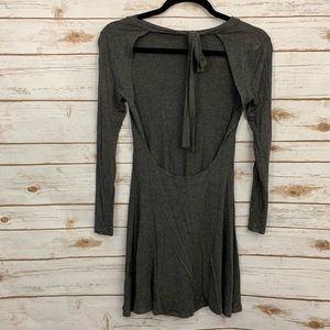 Lulu's Open Back Tie Neck Gray Skater Dress